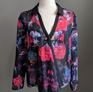 Nicole by Nicole Miller Floral Wrap Front Blouse